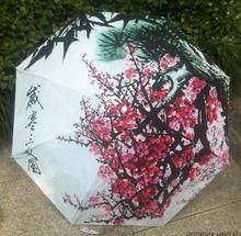 plum blossom Winter chinese oil painting sun rain art Umbrella 3 Fold Anti UV fashion Design impressionism free shipping Bamboo