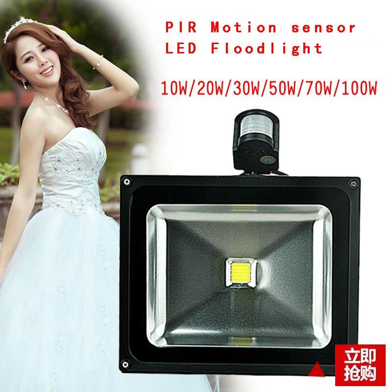 Promotion PIR Motion Sensor LED Flood Light Advertising Lamp 10W 20W 30W 50W  LED Floodlight Detective Sensor Lamp<br><br>Aliexpress
