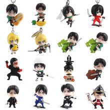 Random send 10pcs/lot 3-3.5cm mini cute Attack on Titan Q version action figure set collectible model toys best kids toys