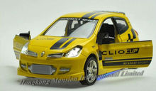 1:32 Scale Alloy Diecast Car Model For Renault Clio III RS Collection Pull Back Car Toys With Sound&Light - Yellow / Red / Blue(China)