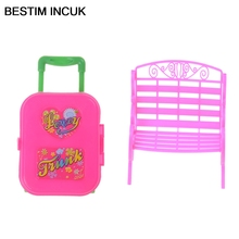 BESTIM INCUK Chair Sofa With Travel Suitcase Luggage Case For Barbie Doll's House Furniture Pretend Play game toys