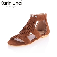 NEW big size 34-43 fashion roman sweet style tassel sandals for women zip summer shoes for women peep toe sandals hot sale(China)