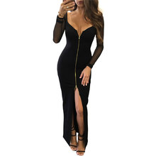 Buy Maxi Long V-Neck Black Sexy Dress Split Bodycon Dresses Women Patchwork Sleeve Club Wear Party Bandage Dress Plus Size for $11.81 in AliExpress store