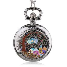 Retro Antique Style Stainless Steel Tree Of Life Owl Quartz Pocket Watch Necklace Women Jewelry Pendant Chain