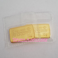 XDA0032C 10 Pcs 10 Grams Gold Bar Copper Core 24K GOLD Plated Without Copy or Attrappe Heat Sealed Packaging Non Magnetic