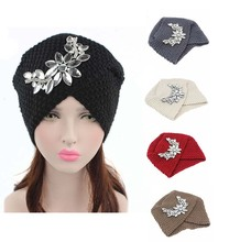 2016 New Fashion Ladies Winter Warm floral Rhinestone Turban Soft Knit Headband Bling Beanie Crochet Headwrap Women Hat Cap