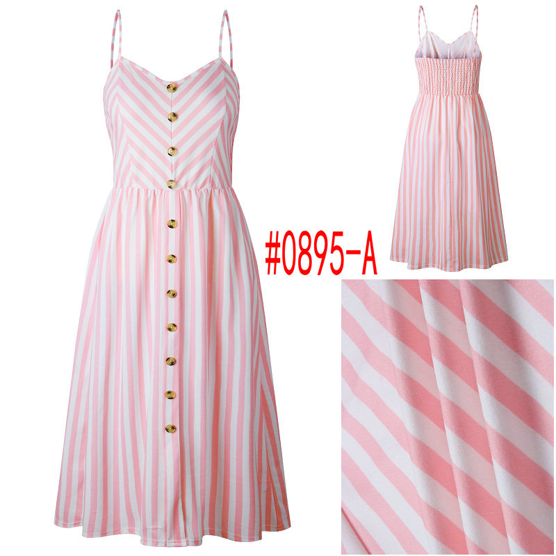 Summer Women Dress 19 Vintage Sexy Bohemian Floral Tunic Beach Dress Sundress Pocket Red White Dress Striped Female Brand Ali9 33