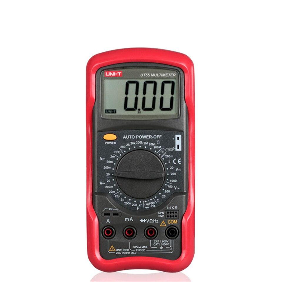 UNIT Digital Multimeter 1000V 20A DMM AC DC Voltmeter Resistance Diode Temperature test UT55 Palmsize Max Holster free shipping<br>