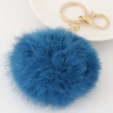 Gold-color Rhinestone Charm Rabbit Fur Ball Cell Phone Car Keychain Handbag Charm Key Chains Ring Pom Poms Hair Bulb + Pendant(China)