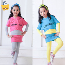 2 colors New Girls Clothing Sets batwing sleeve boutique cheap infant childrens kids girl clothes sets maillots de football