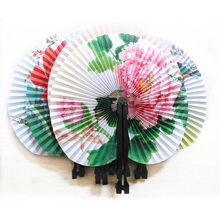Portable Paper Hand Paper Fan Flower Printed Foldable Fan Wedding Decoration Party Supplies E2S (Random Type)