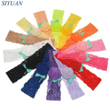 40pcs/lot Eco-friendly Stretchy Lace Headband With Fabric Felt Flower Beautiful Hair Band One Size Fit All Hair Accessory FD239
