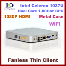 Fanless Barebone thin client, mini pc with Intel Celeron/Pentium dual core HDMI, VGA, WiFi, 1080P, Windows 7 OS, full metal case
