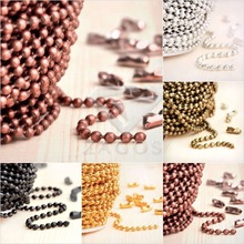 4m Iron 2.4x2.4mm Craft Ball Chain Unfinished Chains Jewelry DIY Making Fit Bracelet Necklace CH0111 5 Color Choose