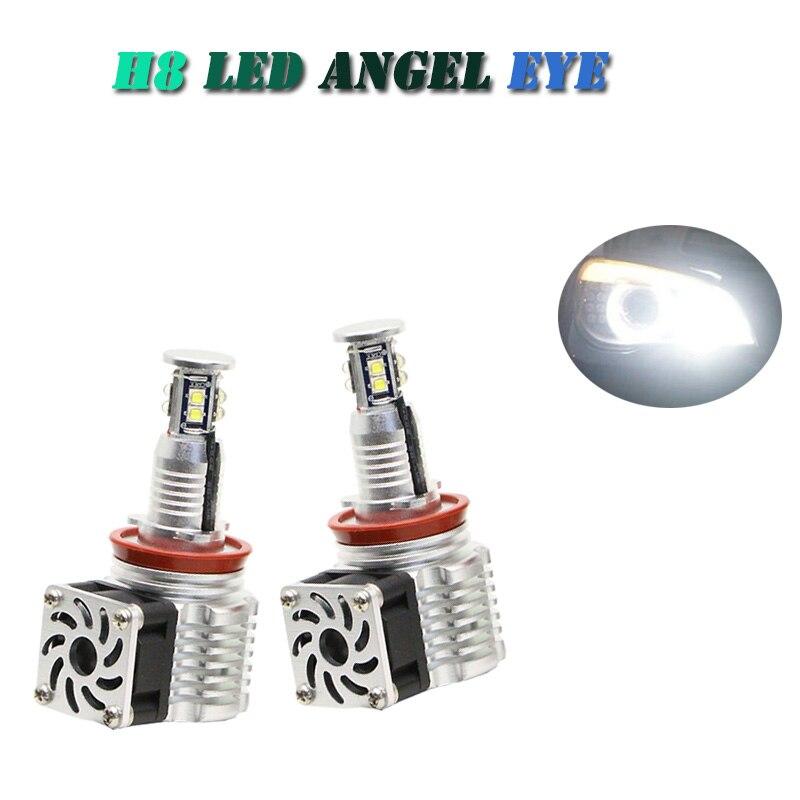 80w ultra Bright White H8 Angel Eye LED Marker Headlight LED Bulbs for BMW E87 E92 E60 E61 E92 E93 E90 X5 error free with fan<br><br>Aliexpress