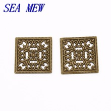 SEA MEW 100PCS 15mm Metal Brass Square Filigree Hollow Out Flowers Connector Charms Gold Silver Base Setting For Jewelry Making(China)