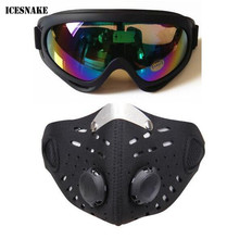 ICESNAKE Ski Glasses Sport Half Face Mask Outdoor Ski Mask Ride Bike Mask Neoprene Bicycle Cycling Motorcycle +Colorful Goggle(China)