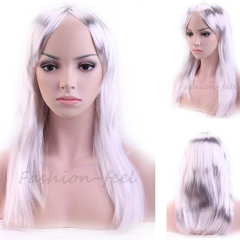 Trendy Women Ladies New Long Straight Silvery Grey Hair Wig New Shiny Cosplay Party Fancy Dress Full Wigs 50CM<br><br>Aliexpress