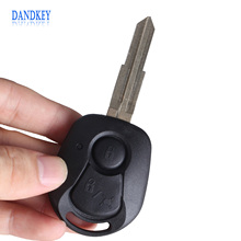 Dandkey 2 BUTTONS REMOTE KEY SHELL FOR SSANGYONG ACTYON KYRON REXTON UNCUT BLADE KEY FOB COVER CASE REPLACEMENT WITH LOGO