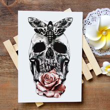 Waterproof Temporary Tattoo Sticker black skull with moth flow tattoo Water Transfer Flash Tattoo fake tattoo for women men #123(China)
