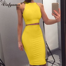 Buy Colysmo Bodycon Dress Two Pieces Summer Dress Women Clubwear Party Dress Female Sheath Dresses Sexy Halter Sleeveless Vestido