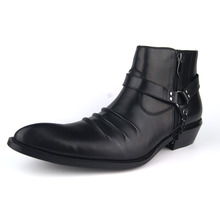OTTO ZONE Top Quality Handmade Genuine Cow Leather Ankle Boots Fashion Martin Boots Men Winter Rivet Shoes Plus Size