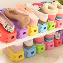 Double Stereo Type Shoe Storage Racks Creative Simple Household Mini Shoe Cabinet reduce Space [lastic Shoes Rack Free Shipping(China)