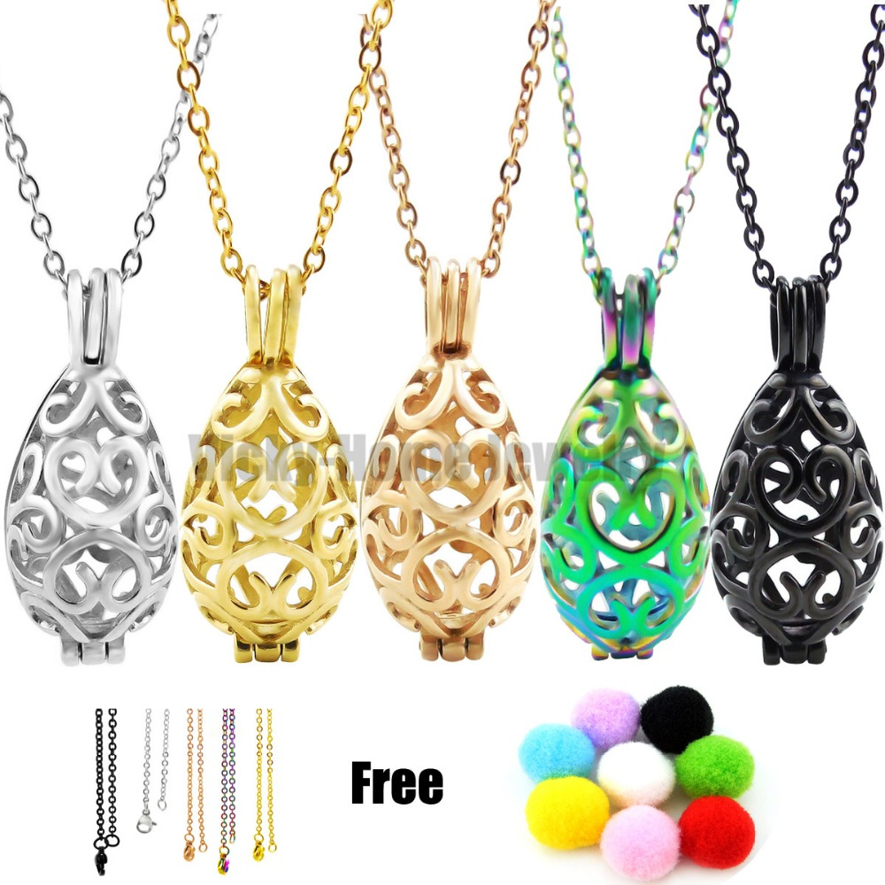 Chains Gift! 31mm*11mm*12mm Heart Steel Oval Essential Oils Cage Diffuser Locket Perfume Aroma Locket 316L Stainless Steel