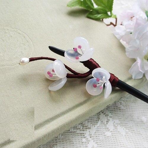 Peach Blossom Black Sanderwood Agate Petal Hair Stick Vintage Chinese Hanfu Costume Accessories Tassel Hair Stick<br>