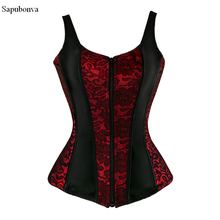 Sapubonva lace up overbust corset vest with straps cheap flower print zip brocade gothic halter corsets bustiers tops women sexy(China)