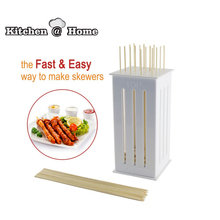 Food Slicer Cute BBQ Grill Kebab Maker Box Kit Rapid Wear Meat With 32 Bamboo Skewers BPA Free K186