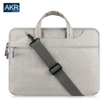 Canvas Laptop Bag Sleeve Case for MacBook Air 13 inch 11 Pro Retina 12 13 15 handle shoulder strap AKR notebook bag(China)