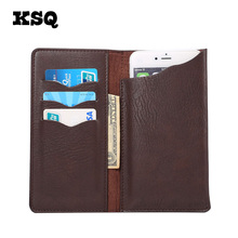 KSQ Universal Leather Phone Bag For Samsung iphone Opening Holster Cover Pocket Wallet Pouch Case Fit For LG HTC All Phone Model(China)