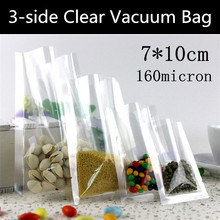 500pcs 7cmx10cm 160mic Small Double Clear Plastic Vacuum Packaging Pouch Hot Heat sealed Vacuum Pouch Plastic Gift Pouch(China)