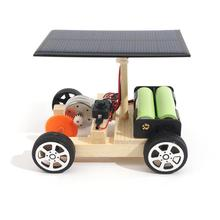 DIY Solar Electric Vehicle Car Wooden Assembly with Rechargeable Battery Science Model Educational Toys for Kids Children Gift(China)