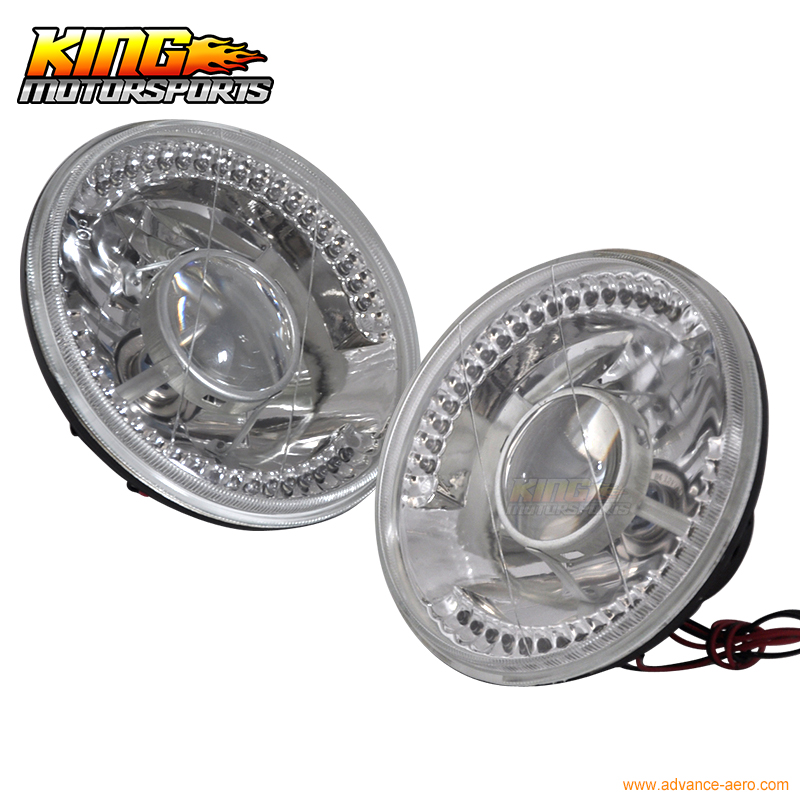 Fits Volkswagen Beetle 7 Inch Clear Round LED Projector Headlights Head Lamps H4<br>