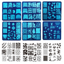 MANZILIN mp0013 OM-A1-32 Art Plate Stamp Stamping Set Round Stainless Steel DIY Nail Polish Print Manicure Nail Stencil Template(China)