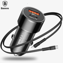 Buy Baseus 36W Type-C PD Quick Charge Car Phone Charger iPhone X 8 Fast Charging USB QC3.0 Car Charger Samsung + 2A PD Cable for $15.99 in AliExpress store