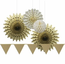 Large Gold Glitter Party Decoration Set Bunting/ Paper Honeycombs/Paper Fans Birthday Wedding Anniversary Showers Paper Crafts(China)