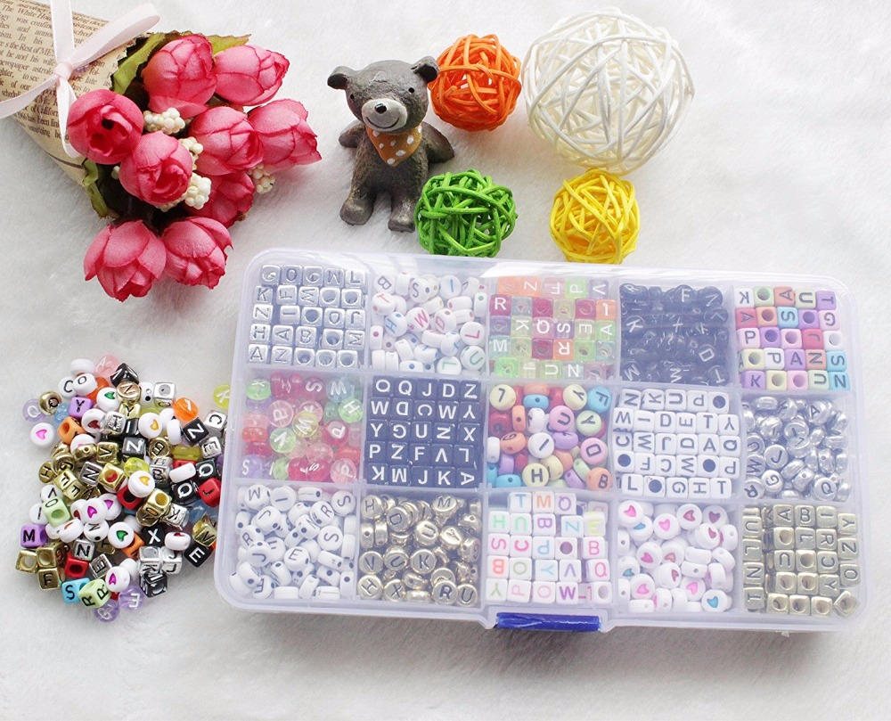 Kit of 1100 letter alphabet beads for braided bracelet with storage box SS Crafts