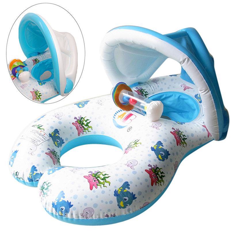 Summer Pop Safe Toddler and Inflatable Mother Baby Swim Float Raft Kid's Chair Seat Play Ring Pool For Ages 0-18 Months baby P5(China)