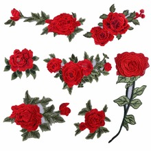 1 Pcs New Brand 3D Patches Big Red Rose Flower Embroidered Patch DIY Iron On Sew On Fabric Repair Clothing For Wedding Patches