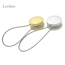 Lychee 1 Piece Gold Silver Magnetic Curtain Buckle Holder Tieback Round Curtains Holdback Window Curtain Accessories(China)