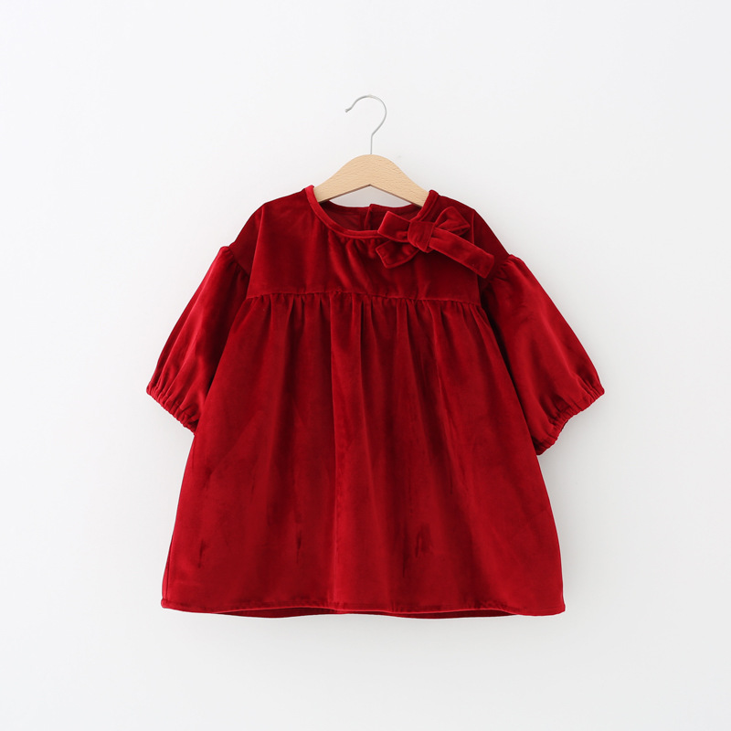 New Spring Girls Princess Velvet Party Dress Bows Half Sleeve Cute Girls Holiday Red Dresses Wholesale<br><br>Aliexpress