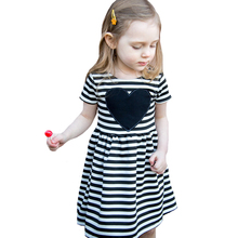 Little Girls Dresses 2017 Kawaii Heart Baby Girl Clothes Dresses Summer Style Black White Striped Children Dress Kids Costumes(China)