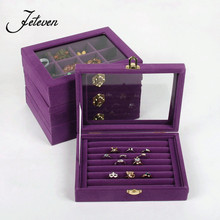High Quality 7 Booths Velvet Carrying Case with Glass Cover Jewelry Earring Ring Display Stand Cufflink Holder Storage Organizer
