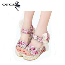 2017 Fashion Women Sandals Summer Wedges WomenShoes Platform Lace Belt Bow Open Toe High-heel Flower Shoes Factory Wholesale(China)