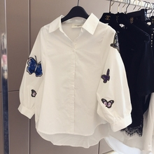 Women White Shirt New Three-Dimensional Embroidery Butterfly Adornment Hubble Sleeve Loose Blouse Quality Clothes Size S-XL(China)