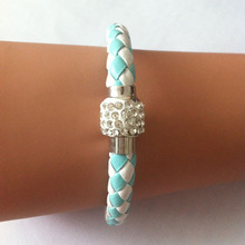 New 2014 Fancy Brand Bracelets Women Jewelry Gift blue and white hand-woven Rhinestone Bracelets & Bangles