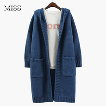 MISSFEBPLUM New Women Winter Clothes Cardigan 2017 Autumn knitted sweater Big Pocket Thick Long Jacket Coat Cardigan With Hood